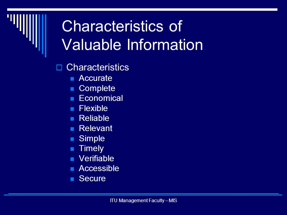 Characteristics of Valuable Information