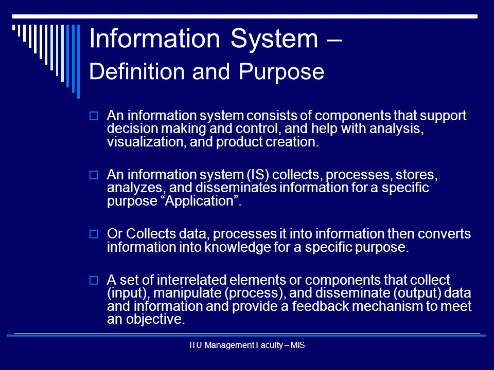 Information System – Definition and Purpose
