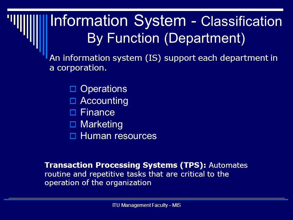 Information System - Classification By Function (Department)