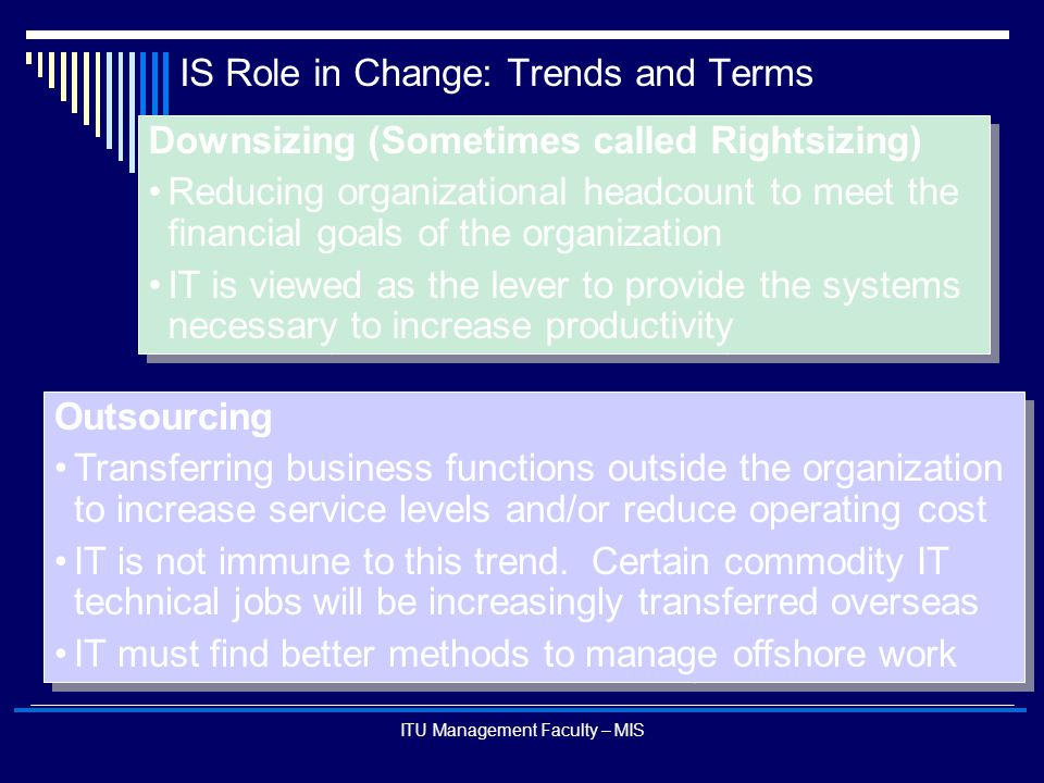 IS Role in Change: Trends and Terms