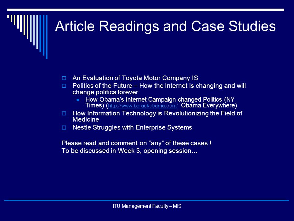 Article Readings and Case Studies