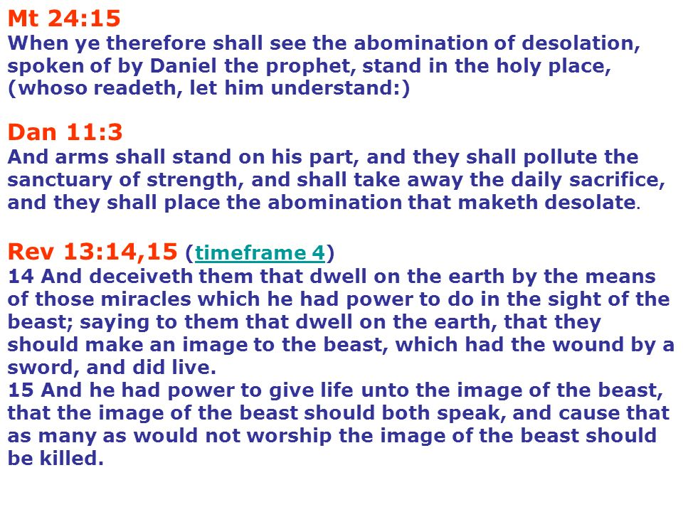 Mt 24:15 When ye therefore shall see the abomination of desolation, spoken of by Daniel the prophet, stand in the holy place, (whoso readeth, let him understand:)