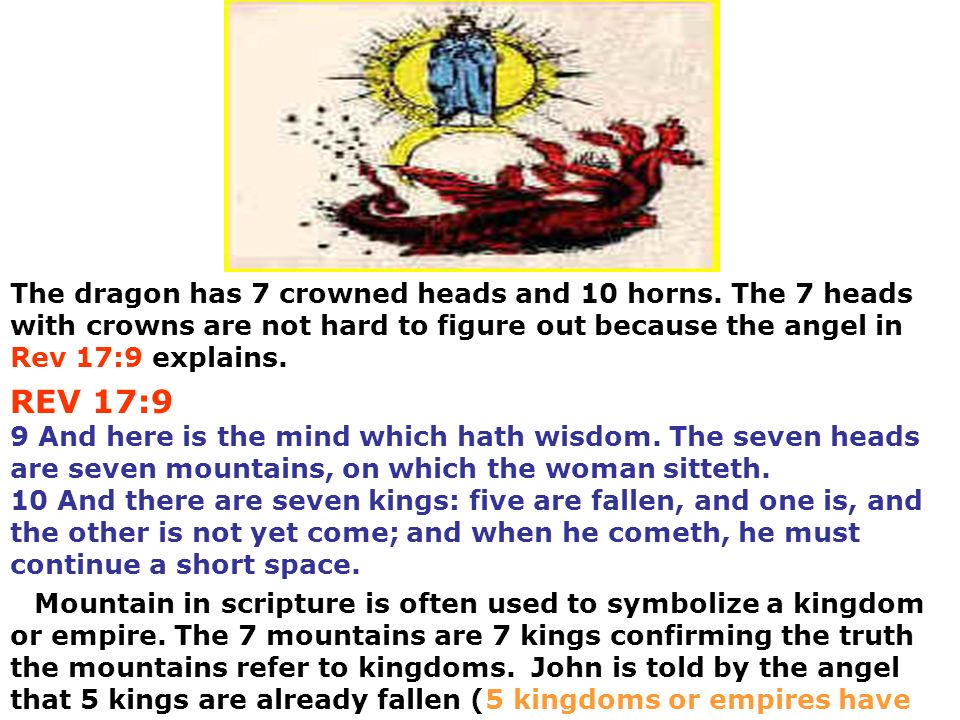 The dragon has 7 crowned heads and 10 horns