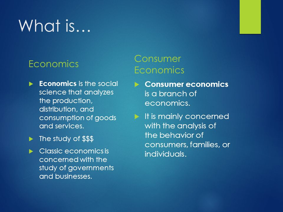 What is… Economics Consumer Economics