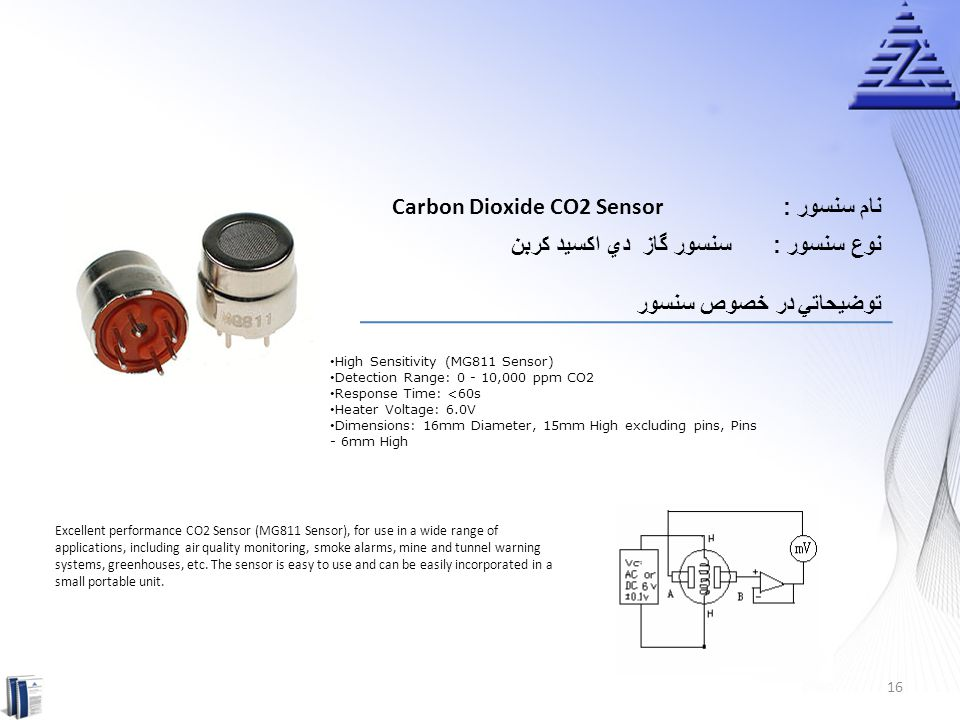 Carbon Dioxide CO2 Sensor نام سنسور :
