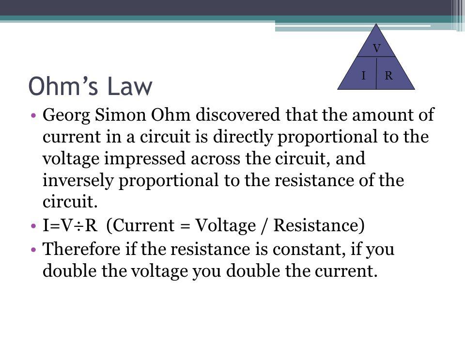 V Ohm's Law. I. R.