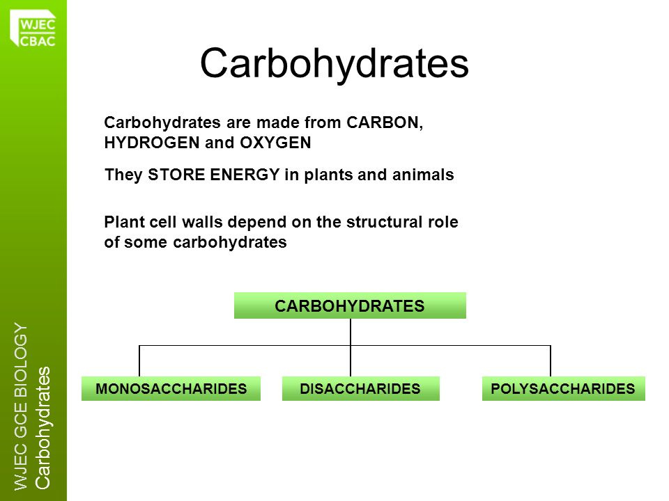 Carbohydrates Carbohydrates are made from CARBON, HYDROGEN and OXYGEN