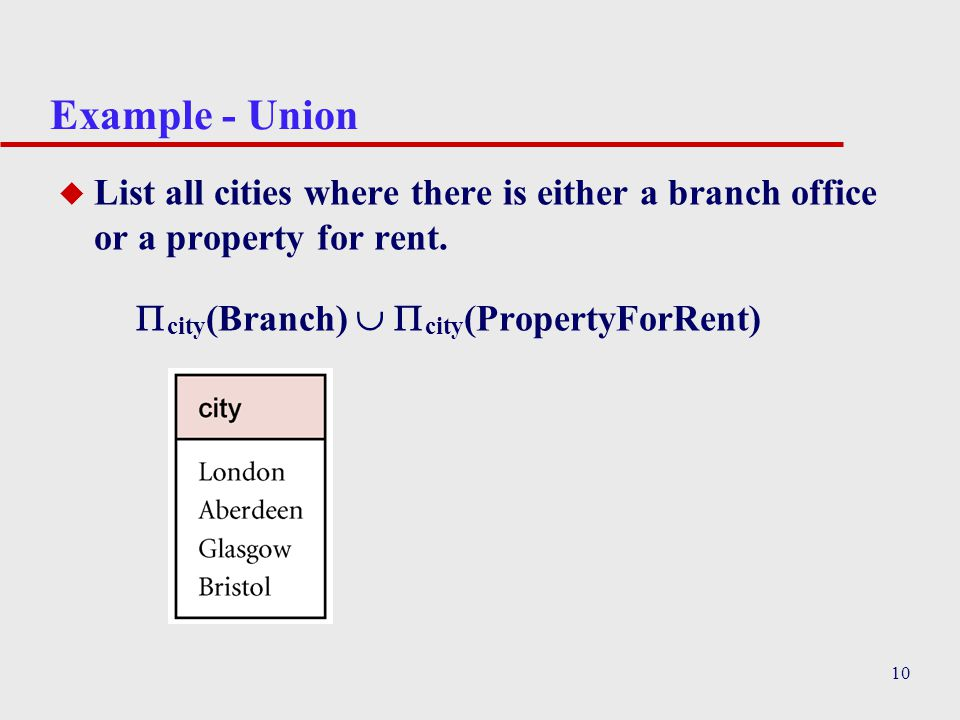 Example - Union List all cities where there is either a branch office or a property for rent.