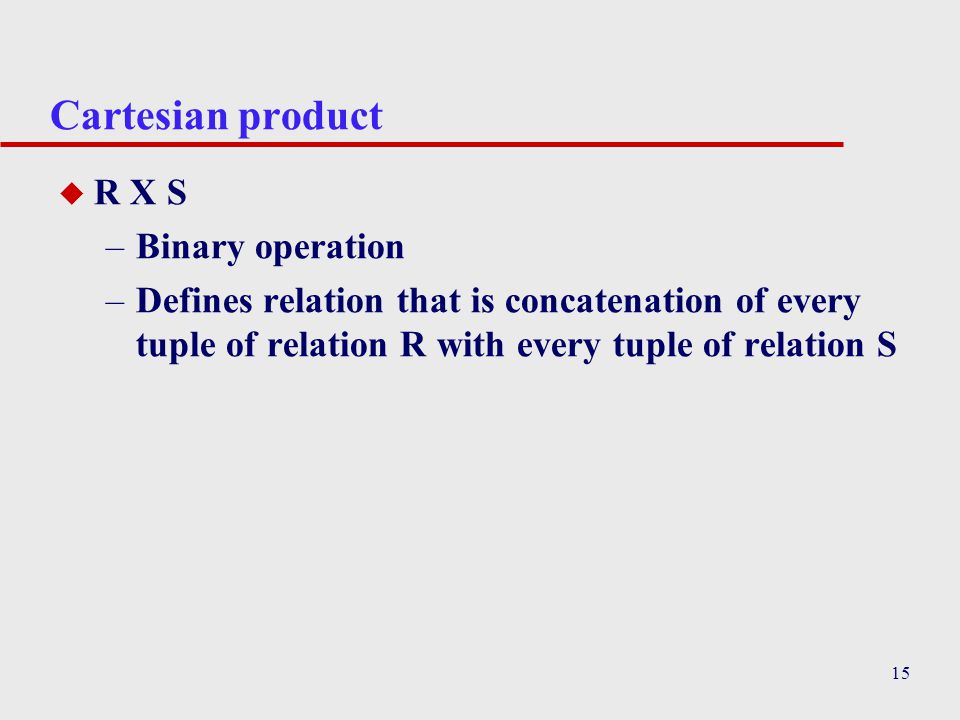 Cartesian product R X S Binary operation
