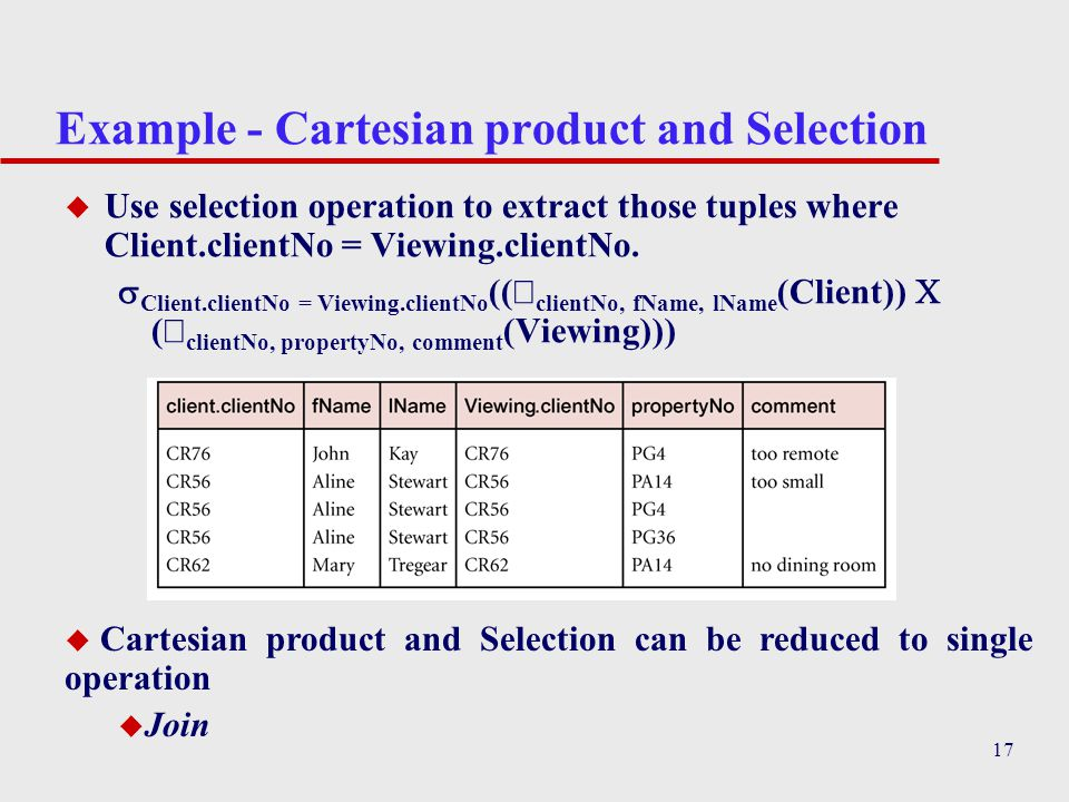 Example - Cartesian product and Selection