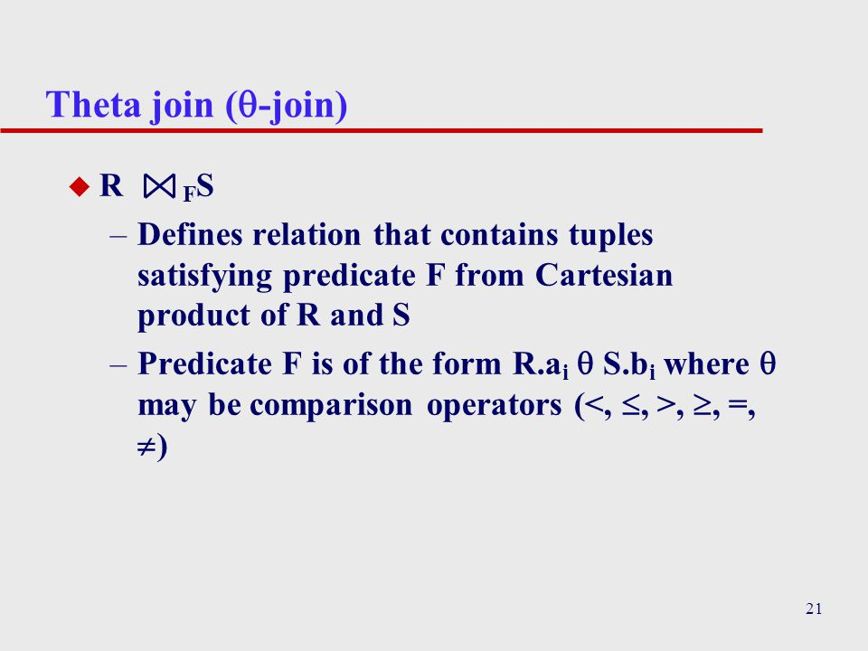 Theta join (-join) R FS