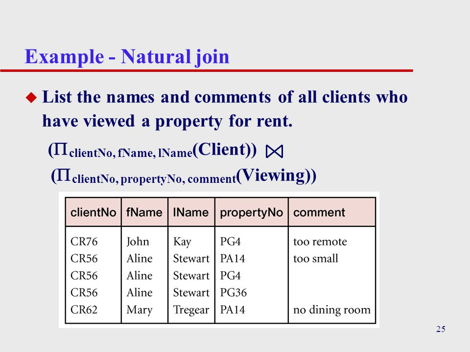 Example - Natural join List the names and comments of all clients who have viewed a property for rent.
