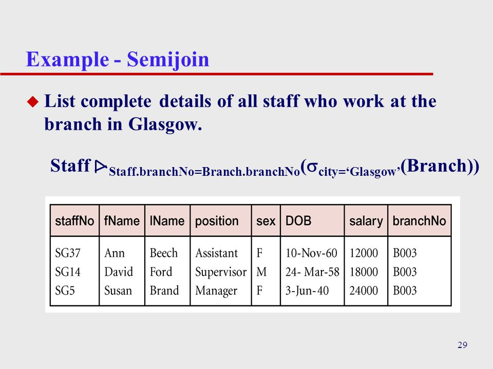 Example - Semijoin List complete details of all staff who work at the branch in Glasgow.