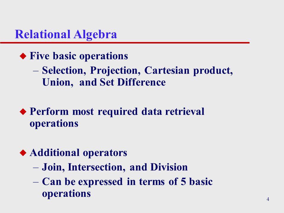 Relational Algebra Five basic operations