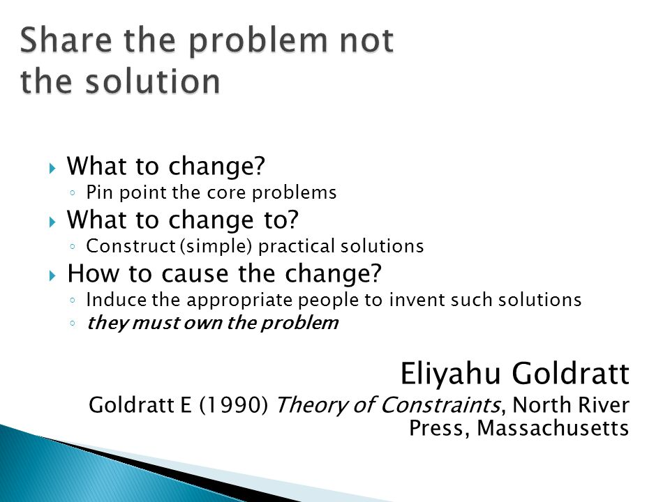 Share the problem not the solution