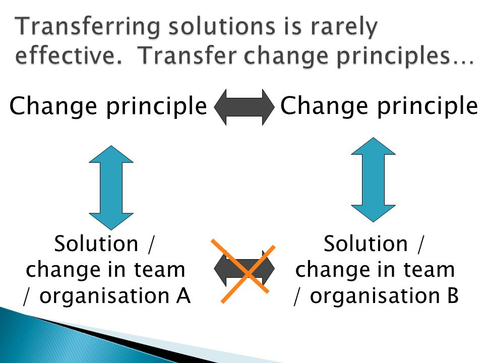 Transferring solutions is rarely effective. Transfer change principles…