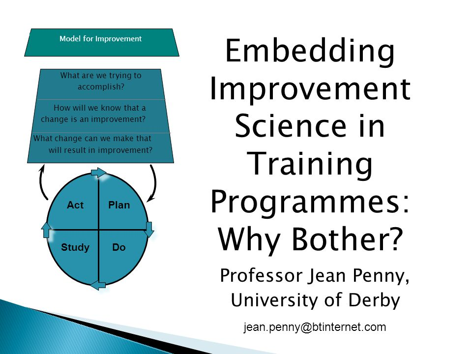 Embedding Improvement Science in Training Programmes: