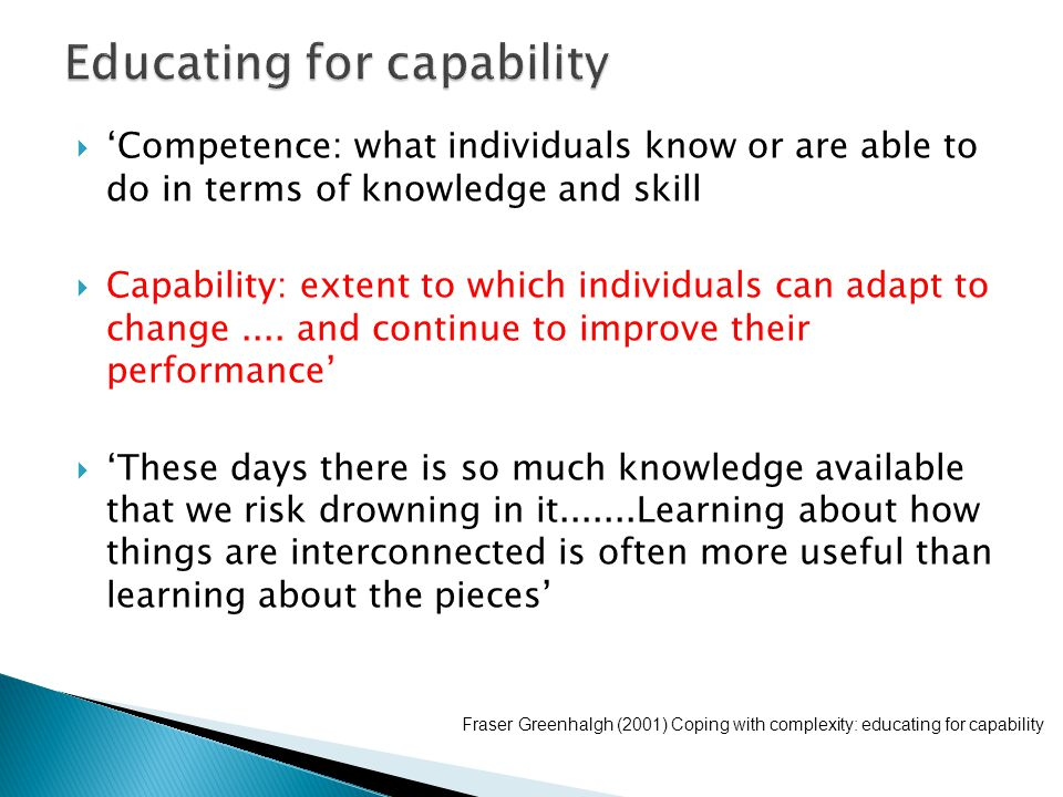 Educating for capability