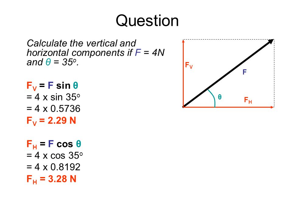 Question F. FV. FH. θ. Calculate the vertical and horizontal components if F = 4N and θ = 35o. FV = F sin θ.