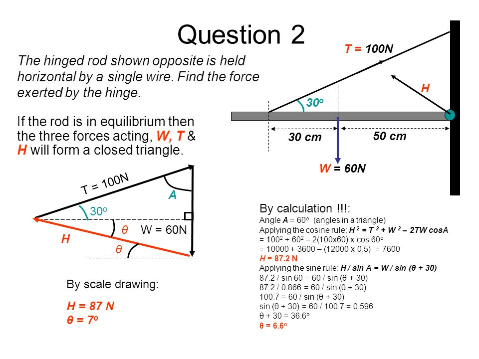 Question 2 W = 60N. H. T = 100N. 30 cm. 50 cm. 30o.