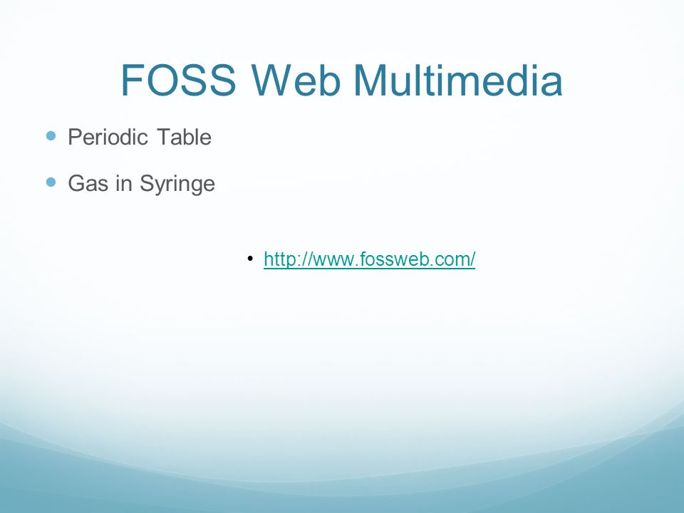 FOSS Web Multimedia Periodic Table Gas in Syringe