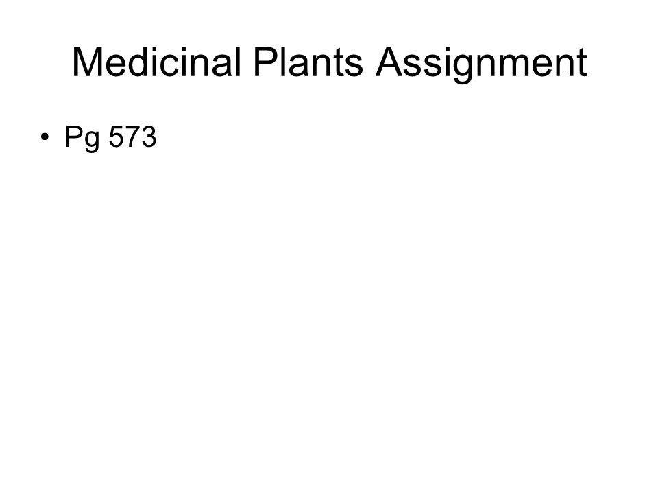 Medicinal Plants Assignment
