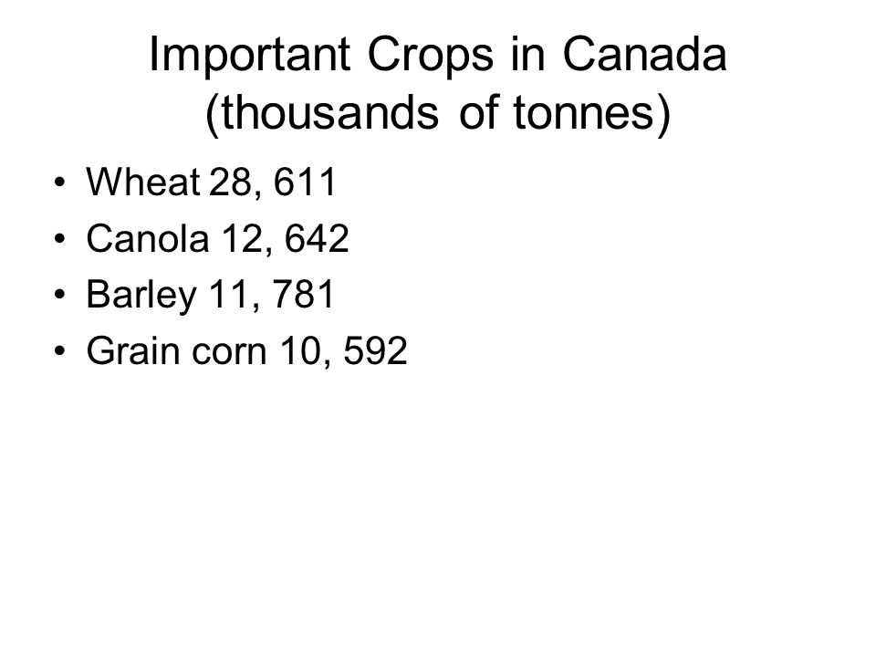 Important Crops in Canada (thousands of tonnes)
