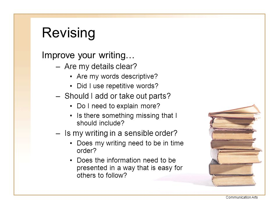 Revising Improve your writing… Are my details clear