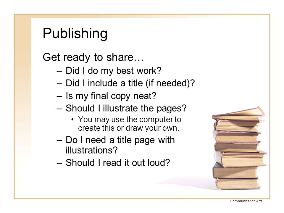 Publishing Get ready to share… Did I do my best work