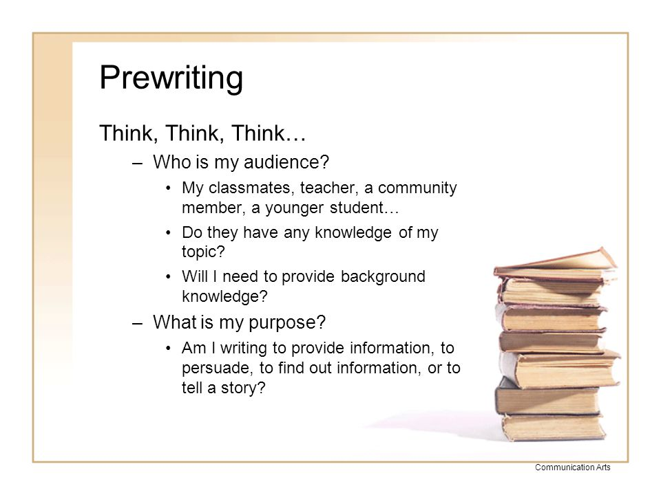 Prewriting Think, Think, Think… Who is my audience