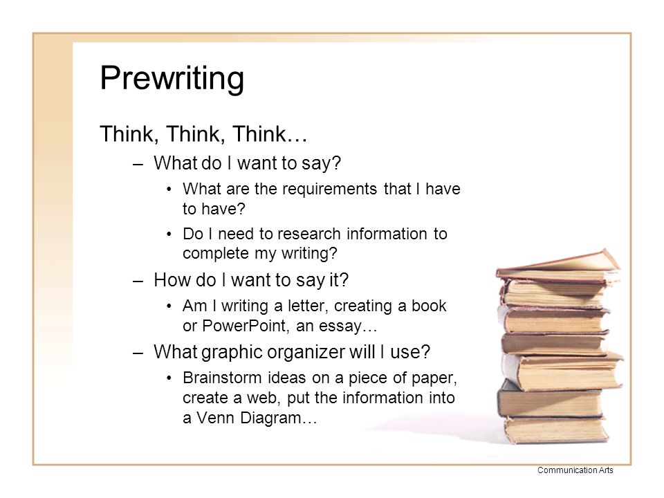 the writing process communication arts ppt video online  5 prewriting think