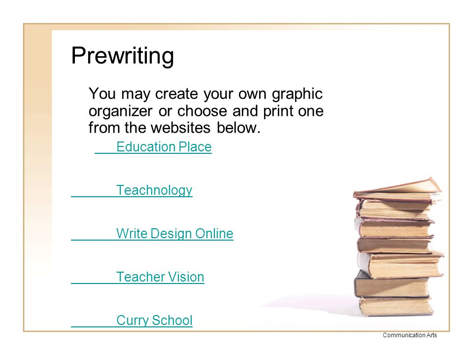 Prewriting You may create your own graphic organizer or choose and print one from the websites below.