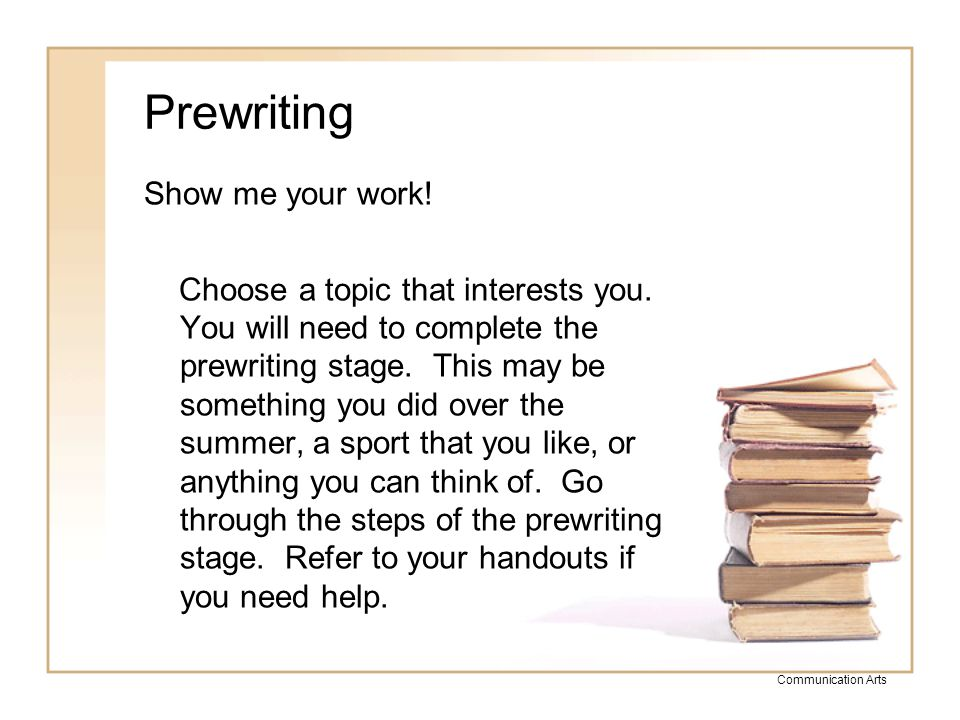 Prewriting Show me your work!