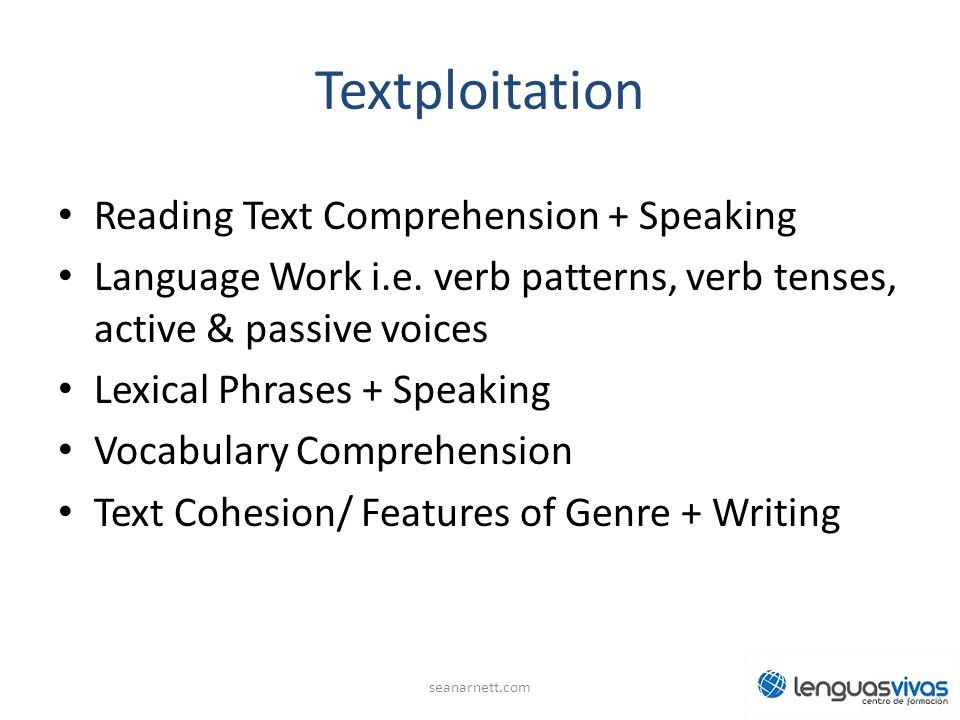 Textploitation Reading Text Comprehension + Speaking