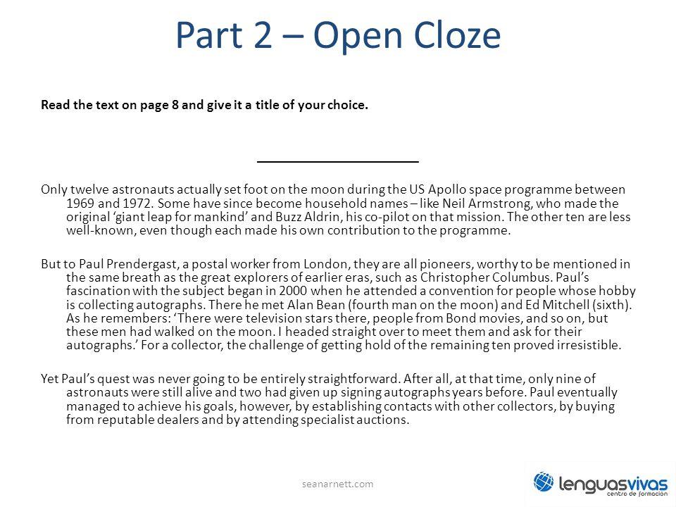 Part 2 – Open Cloze