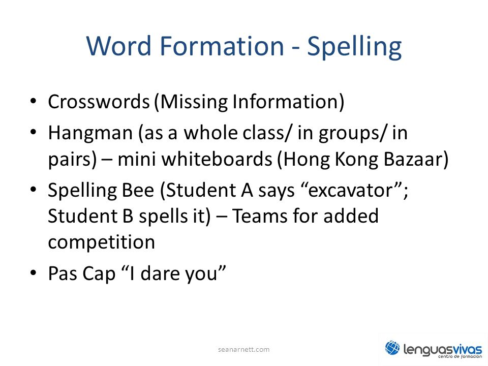 Word Formation - Spelling