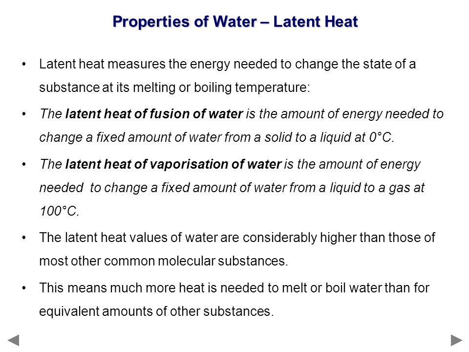 Properties of Water – Latent Heat