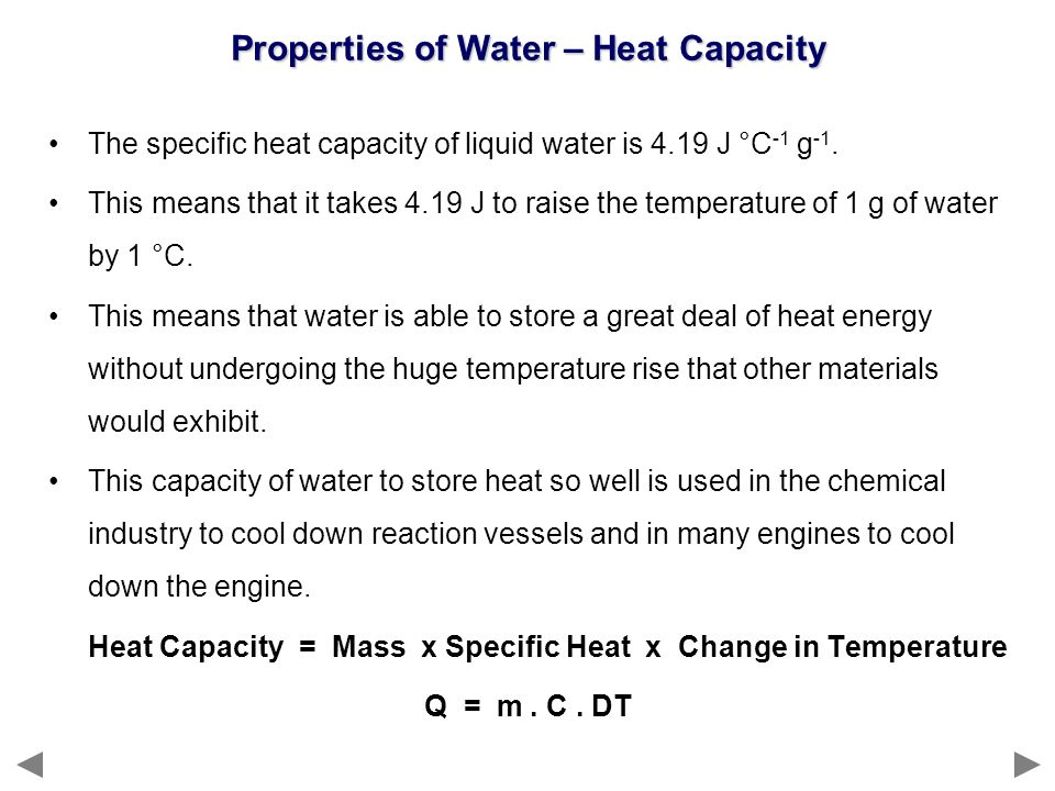 Properties of Water – Heat Capacity