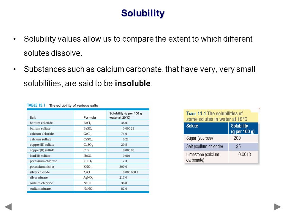 Solubility Solubility values allow us to compare the extent to which different solutes dissolve.