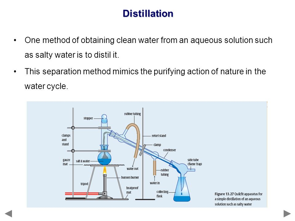 Distillation One method of obtaining clean water from an aqueous solution such as salty water is to distil it.