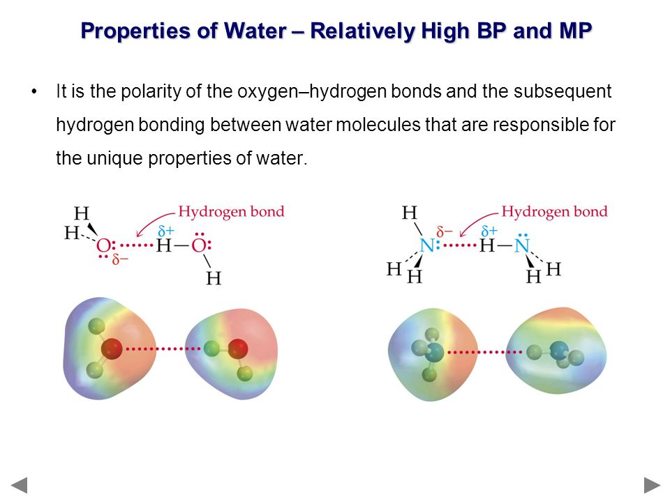 Properties of Water – Relatively High BP and MP