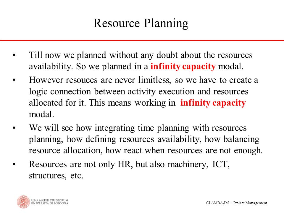 Resource Planning Till now we planned without any doubt about the resources availability. So we planned in a infinity capacity modal.