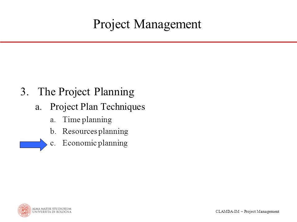 Project Management The Project Planning Project Plan Techniques