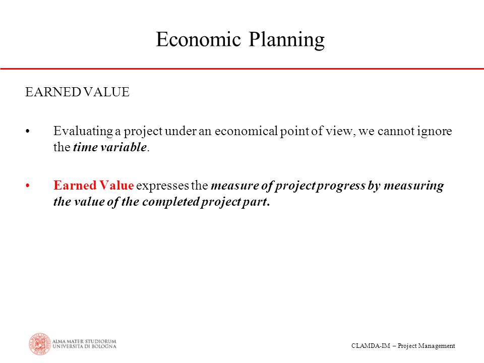 Economic Planning EARNED VALUE