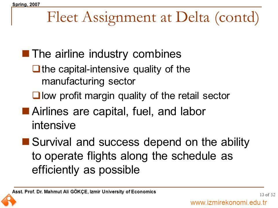 Fleet Assignment at Delta (contd)