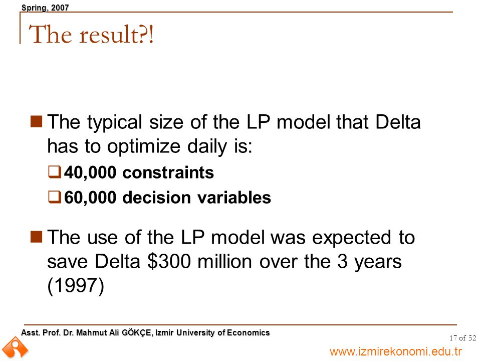 The result ! The typical size of the LP model that Delta has to optimize daily is: 40,000 constraints.