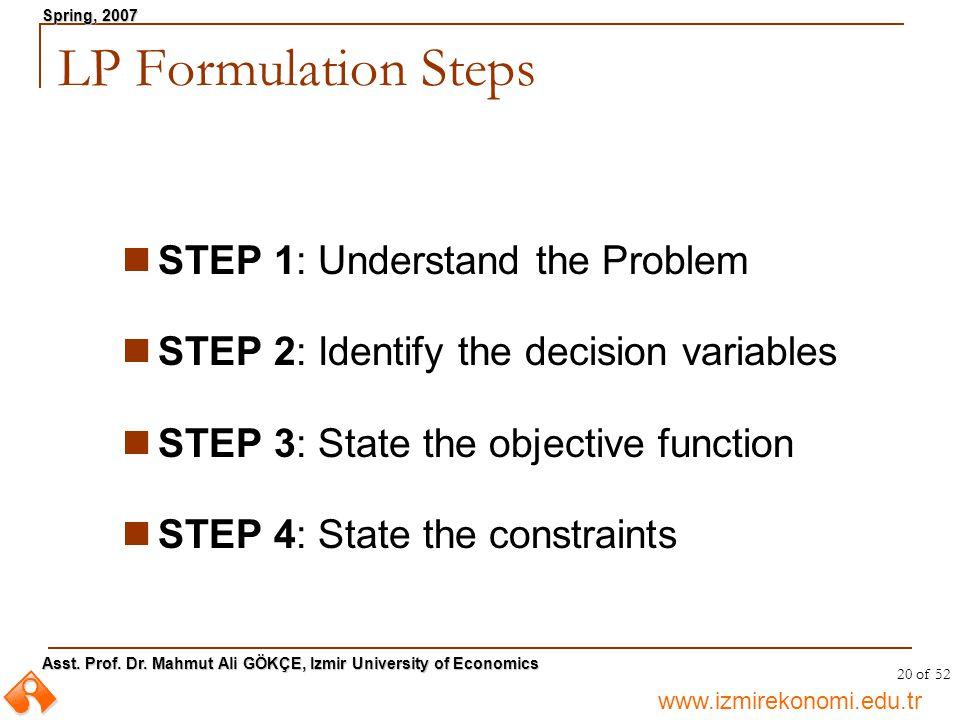 LP Formulation Steps STEP 1: Understand the Problem