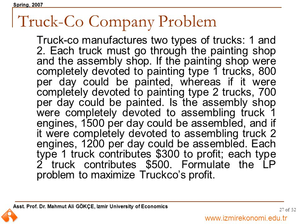 Truck-Co Company Problem
