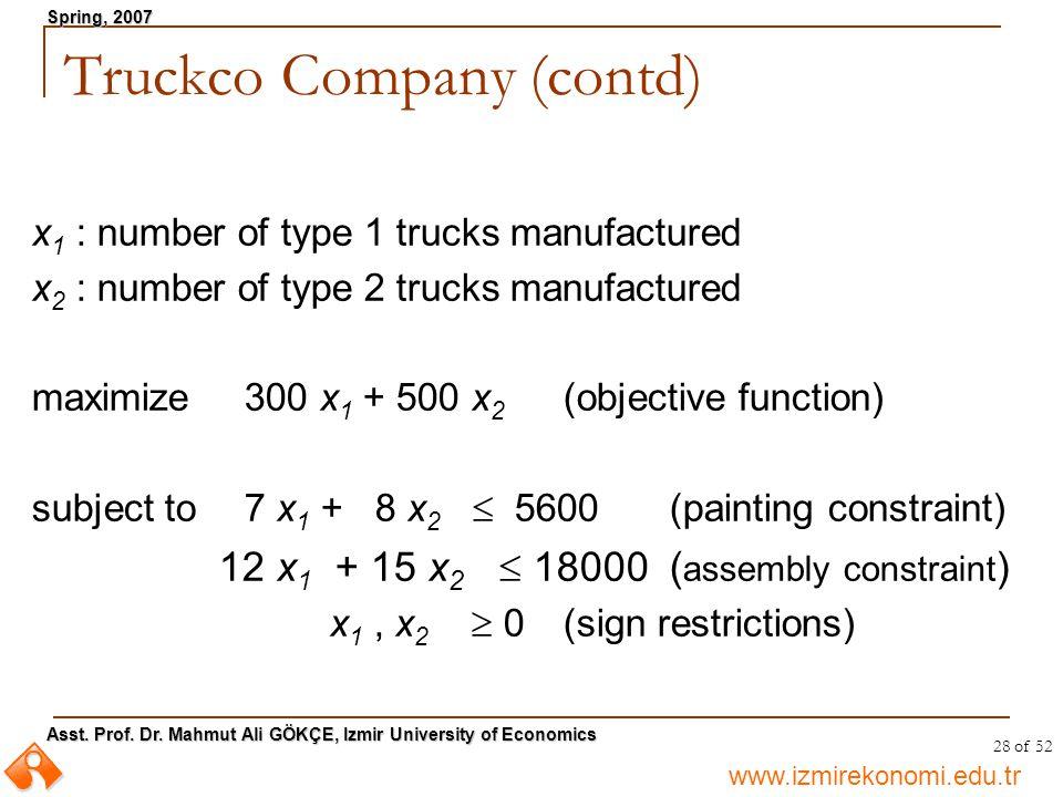 Truckco Company (contd)