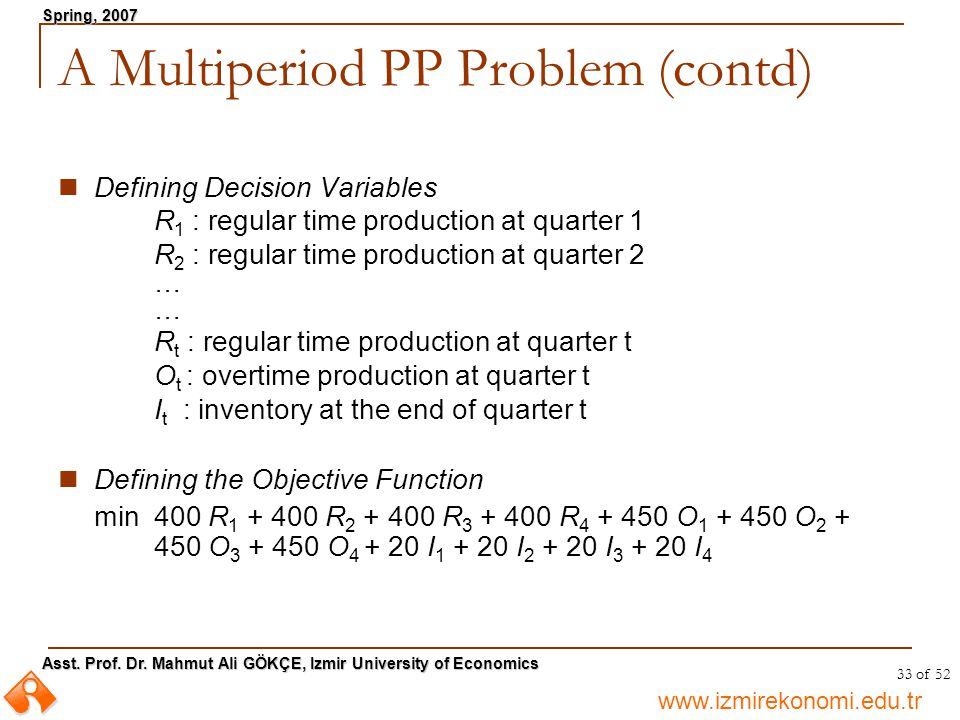 A Multiperiod PP Problem (contd)